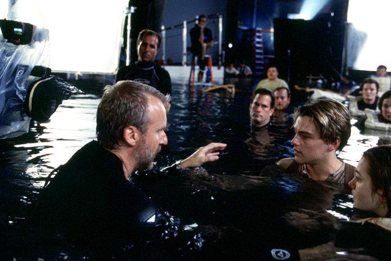 Джеймс Кэмерон на съемках Титаника